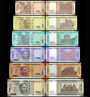INDIA SET 6 PCS 10 20 50 100 200 500 RUPEES 2017- 2019 new design UNC