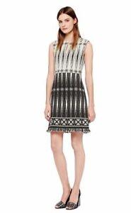 NEW Tory Burch Tweed Fringe Dress in Ivory/Black - Size 8 #D3461