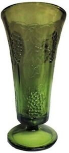 """Vintage Tall 9 3/4"""" Olive Green Footed Vase w/ bunches of Grapes and Grapevines"""