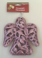 Christmas Ornament Holy Angel Purple Glitter 6x5in Xmas Tree Hanging Decoration
