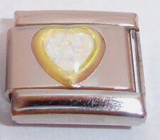 WHITE GLITTER HEART 9mm Italian Charm fits Classic Starter Bracelets I Love You