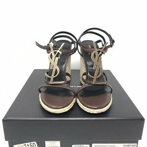 Saint Laurent Cassandra YSL Logo Wedge Sandal Brown 40 10 B New With Box