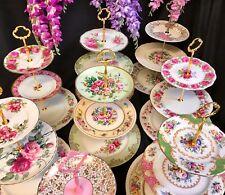 2 & 3 Tier Vintage Plate Cake Stands High Tea Royal Albert Queen Anne Aynsley