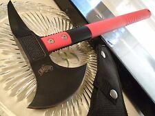 "Master Red Tomahawk Throwing Axe Knife Combat Spike MU-AXE4RD 440 W Sheath 17"" O"