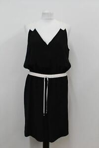 KARL LAGERFELD Ladies Black Silk Drawstring Waist Strapped Sundress UK14 FR42