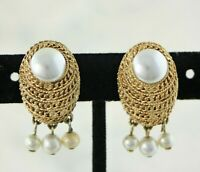 "Vintage Signed ""Corocraft"" Coro Braided Gold Glass Pearl Dangle Earrings"