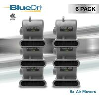 6 Pack BlueDri Grey ONE-29 Air Mover Carpet Floor Blower Fan Water Damage, Grey