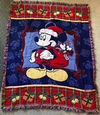 Mickey Mouse Christmas Disney Santa Woven Holiday Throw Blanket 55x44