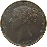 GREAT BRITAIN FARTHING 1843 VICTORIA #t84 291