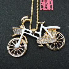 New White Enamel Delicate Bicycle Crystal Betsey Johnson Pendant Chain Necklace