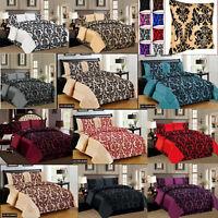 Damask Quilt Duvet Cover Bedding Set Double king Super King With Valance Sheet