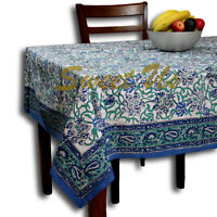 Block Print Paisley Tablecloth-Rectangle Square Round Table-Cotton Blue Green
