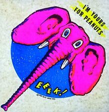 Original Vintage I'm Yours For Peanuts Elephant Iron On Transfer Dayglo