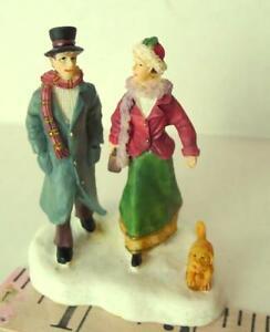 Grandeur Noel Victorian Village Couple Man Lady Walking with Dog  2002 replace