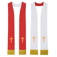 Christian Cross Embrodiery Reversible Priest Stole Red White Clergy Stole