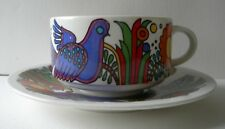 "NICE VILLEROY BOCH RETRO ACAPULCO PATTERN FLAT COFFEE CUP 2-1/8"" & 6"" SAUCER"
