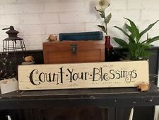 Count Your Blessings Country Home Decor Rustic Sign Chippy Chic Distressed Cute