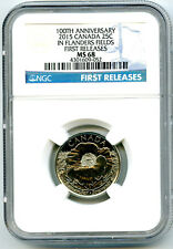 2015 CANADA 25 CENT NGC MS68 POPPY FLANDERS FIELD REMEMBRANCE QUARTER RARE POP