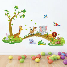 1x Kids Bedroom Wall Stickers Zoo Animal Jungle Tree Baby Nursery Bedroom Decal
