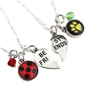 Ladybug and Cat Noir BFF 2 Piece Metal Pendant Necklace Set
