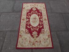Old hand made design francese Lana Maroon Rosso ORIGINALE Aubusson 145X77cm