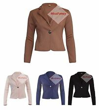 Womens Plain Blazers One Button Blazer Short Jacket Long Sleeve Cardigan Top