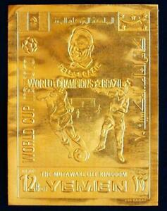 YEMEN 1970 SOCCER, RARE XF MNH ** ImPerf GOLD, Football Pelé Fussball World Cup