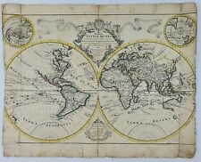 VERY RARE WORLD MAP 1710 ORIGINAL ANTIQUE COPPER ENGRAVING JEREMIAS WOLFF