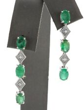 3.86 Carat Natural Emerald and Diamond in 14K Solid White Gold Stud Earrings