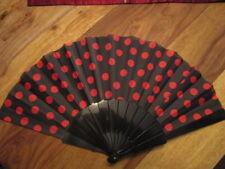 Hand Fächer Schwarz mit roten Punkten Kunststoff und Stoff