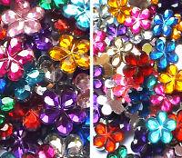 Acrylic Flower Flatback Embellishment Rhinestone Gem Deco Craft 10mm OR 15mm