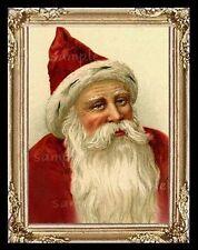 Dollhouse Art Picture Miniature Framed Print Vintage Christmas Santa Claus A6802