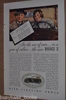 1933 Dodge advertisement, DODGE 8 cabriolet, color photo