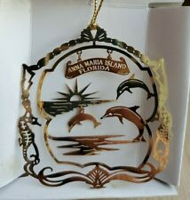 Anna Maria Island Florida vtg. 24 Karat Gold Finish Brass Christmas Ornament