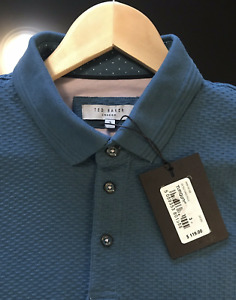 Ted Baker Luxury Mens Polo Shirt Turquoise Size 3 U.S. MEDIUM NWT $119
