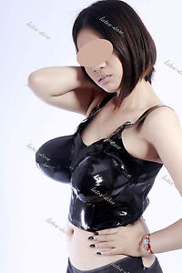 2881 Latex Rubber Gummi Inflatable chest Bra customized catsuit costume 0.4mm