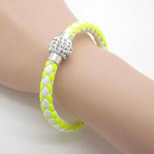 Yellow Leather Bracelet with Rhinestone Buckle