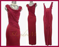 Karen Millen UK 12 Red Jersey Drape Gown Wedding Prom Cocktail Long Maxi Dress