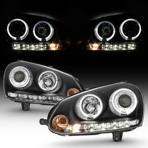 For 06-09 Volkswagen GTi/Rabbit/Jetta Black Halo Angel Eye Projector Headlight