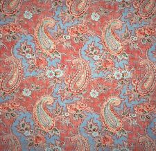 DESIGNERS GUILD Millbrook Paisley Blue Red Cotton Remnant New