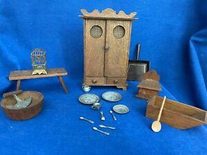 Antique Miniature Dollhouse Kitchen Furniture and Utensils  Lot, gilt birdcage