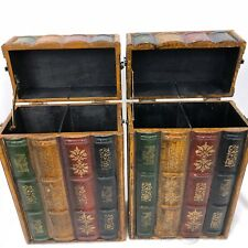 "2 Faux Books Box 2 Compartment Decorative Wood Containers 14"" Three Hands Corp"