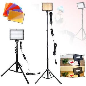2x 66 LED Videoleuchte Kameralicht 8 Filter Camcorder + Stativ Fotografie Light