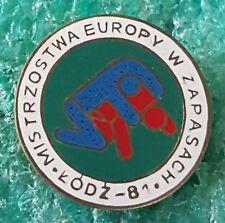 EUROPEAN WRESTLING CHAMPIONSHIP ŁÓDŹ 1981 POLAND OLD PIN BADGE