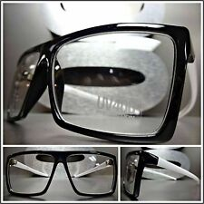 Men Women CLASSIC VINTAGE RETRO Clear Lens EYE GLASSES Black White Fashion Frame