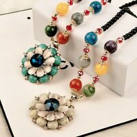 Fashion Women Jewelry Chain Turquoise Bead Flower Pendant Sweater Long Necklace
