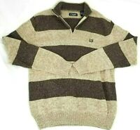 Chaps Mens Sweatshirt Pullover 1/4 Zip Mock Neck Tan & Brown Stripes Size Large