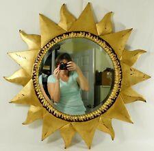"""Large Vintage 30"""" Ornate Gold SUNBURST Carved Wood Beveled Hanging Wall Mirror"""