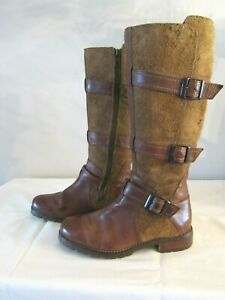 ARIAT  Womens Brown Leather Suede Buckle High Zipper Boots~ Size 6 1/2B  EUC