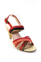 Ulla Johnson Womens Della Raffia Heels Sandals Red Black Size 41 11